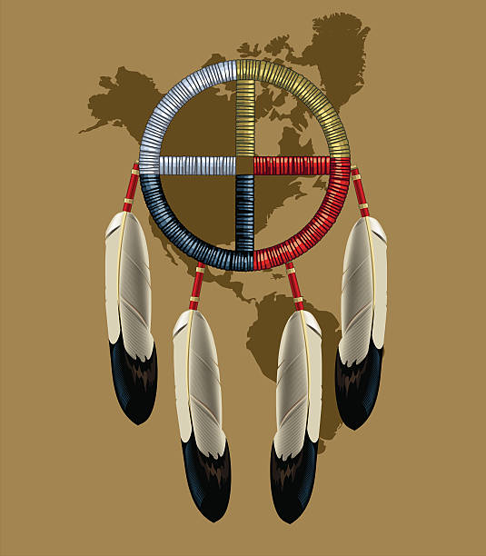 Native American Indian Dreamcatcher Native American Indian Dreamcatcher (Medicine Wheel) with eagle feathers on the map of North and South America. The background of sand color. In addition is a file with blue background. bristle animal part stock illustrations