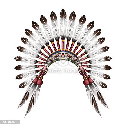 istock Native American Indian feather headdress 612506240