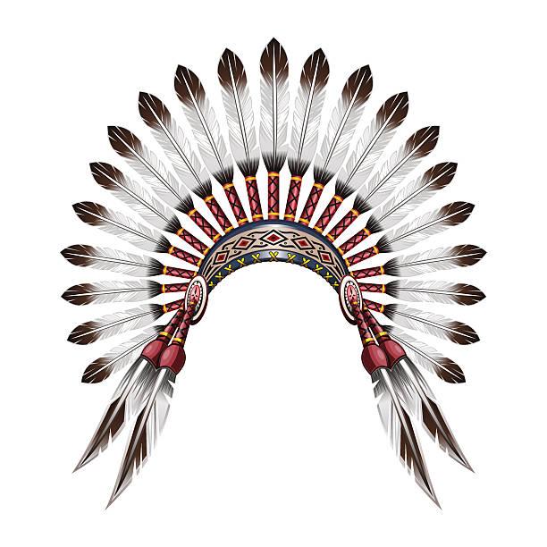 native american indian feather headdress - kopfschmuck stock-grafiken, -clipart, -cartoons und -symbole