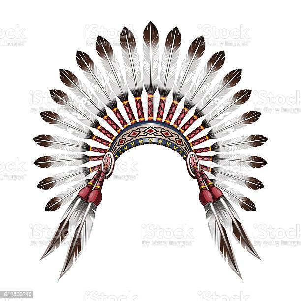 Native American Indian headdress. Indian tribal chief headdress with feathers. Feather headdress. Vector colorful illustration isolated on white background