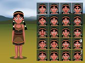Native American Indian Girl Cartoon Emotion faces Vector Illustration
