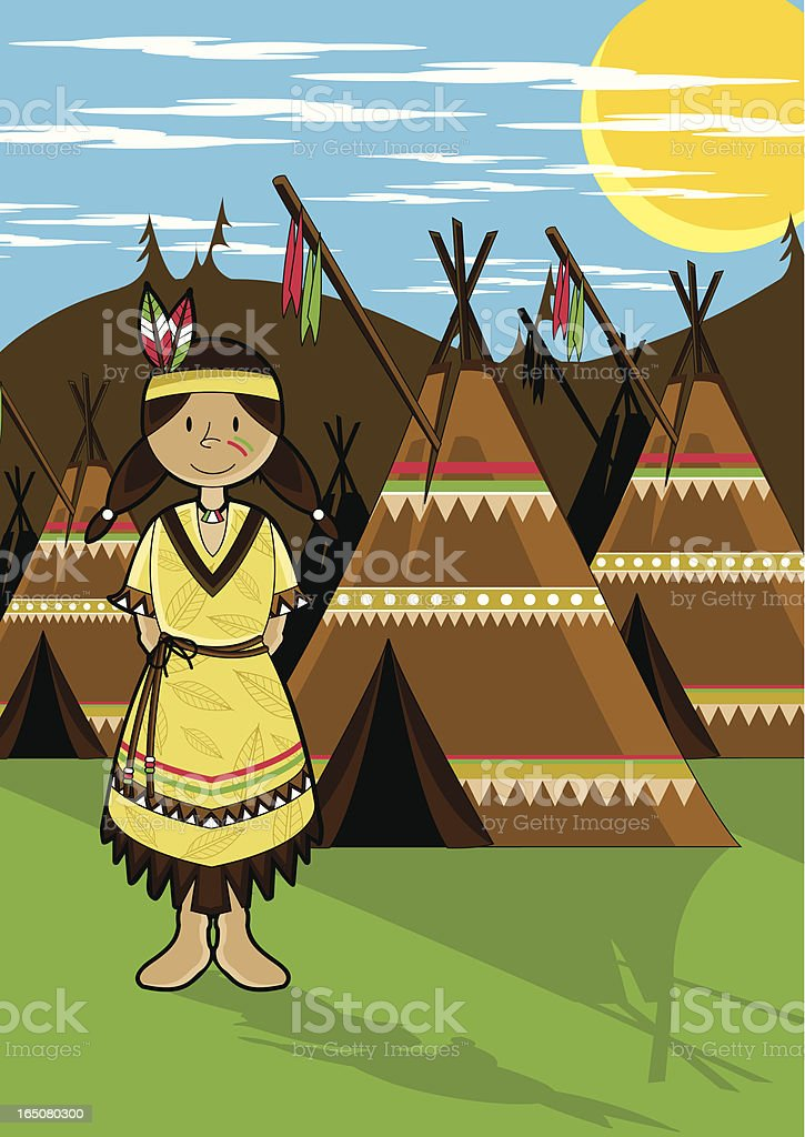 Native American Indian Girl royalty-free stock vector art