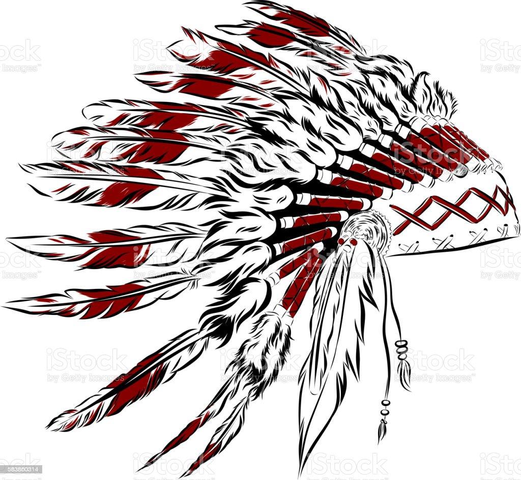 Ilustración De Indios Nativos Americanos Tocado Con Plumas De Ganso