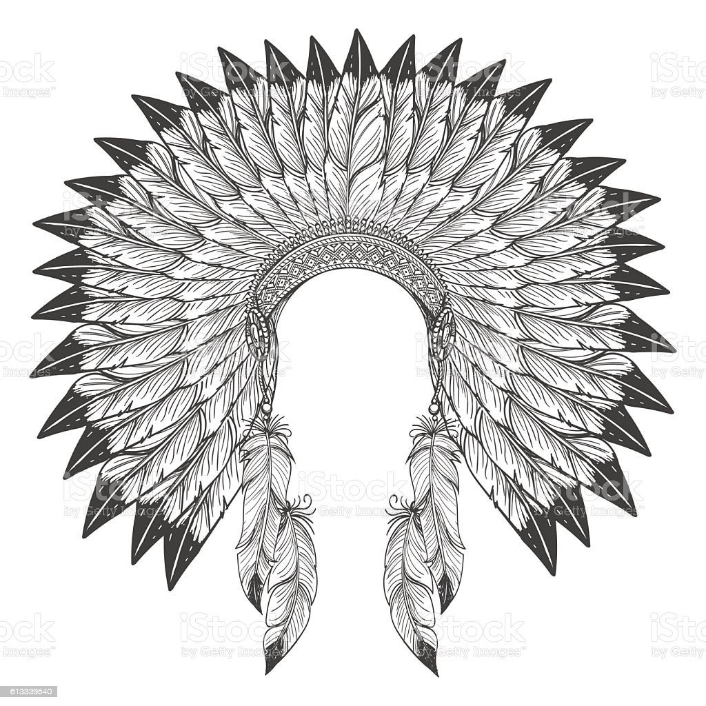 Native american indian headdress with feathers vector art illustration