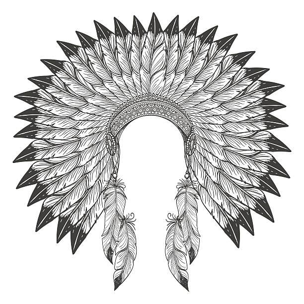 native american indian headdress with feathers - kopfschmuck stock-grafiken, -clipart, -cartoons und -symbole