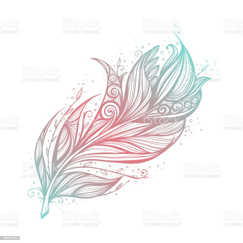 Native American Indian talisman. Vector tribal feathers. vector art illustration