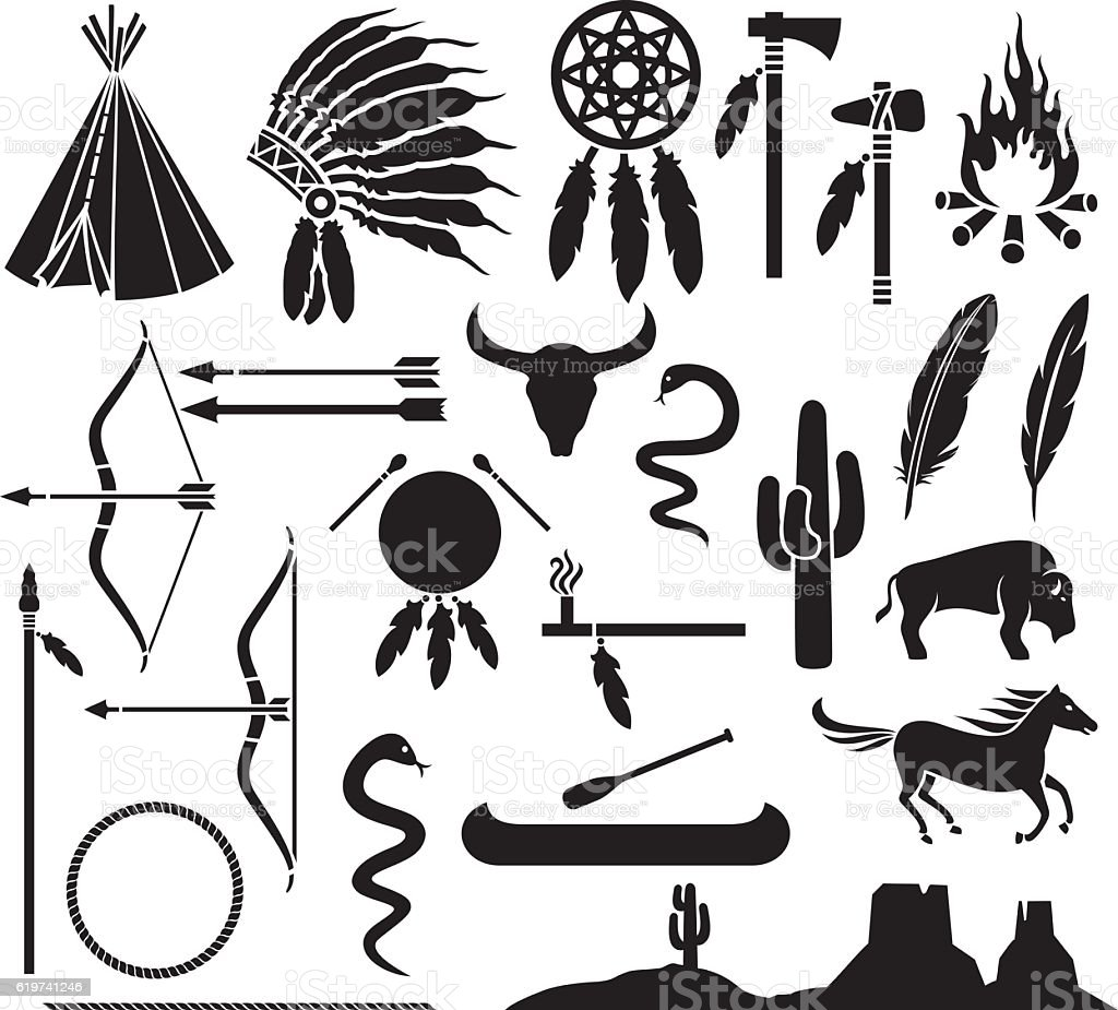 native american indians icons set (bow and arrow, horse) vector art illustration