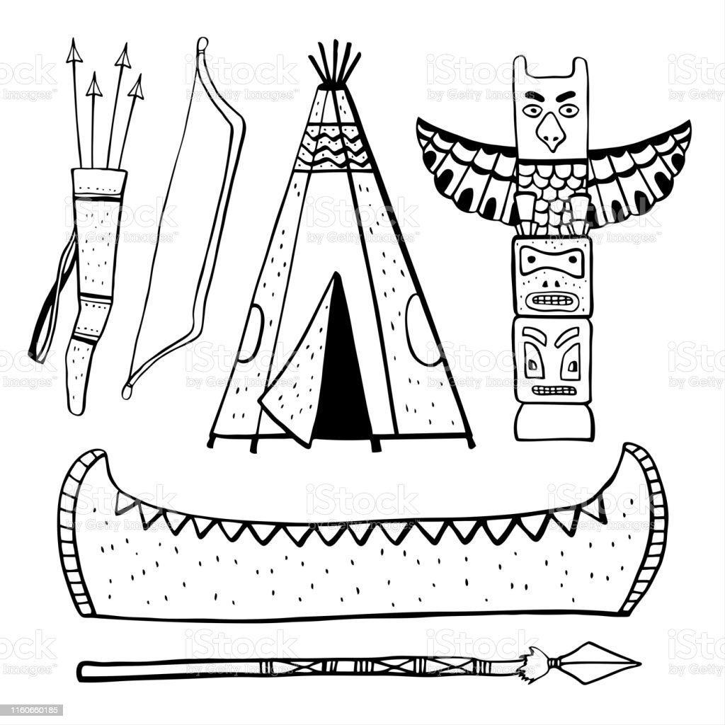 Native American indians traditional objects. Wigwam, totem pole,...