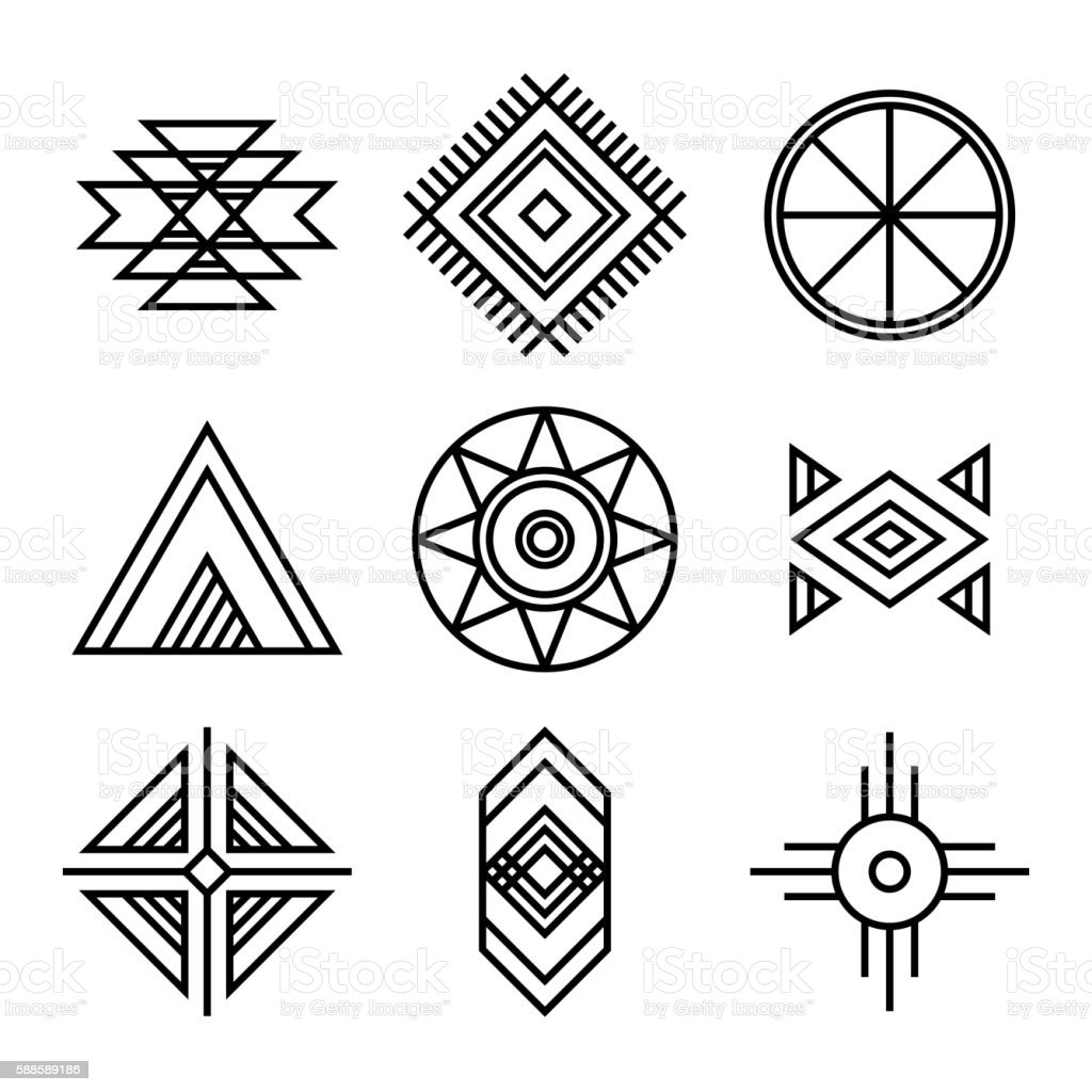 native american indians tribal symbols まっすぐのベクターアート