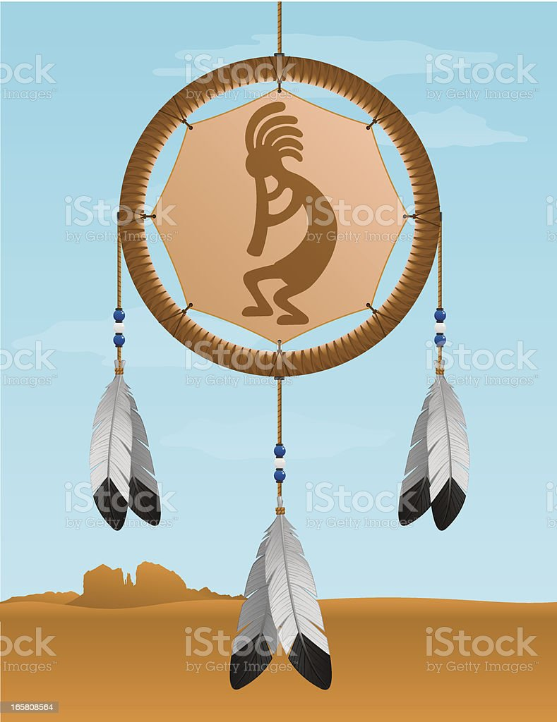 Native American Kokopelli Dream Catcher royalty-free stock vector art