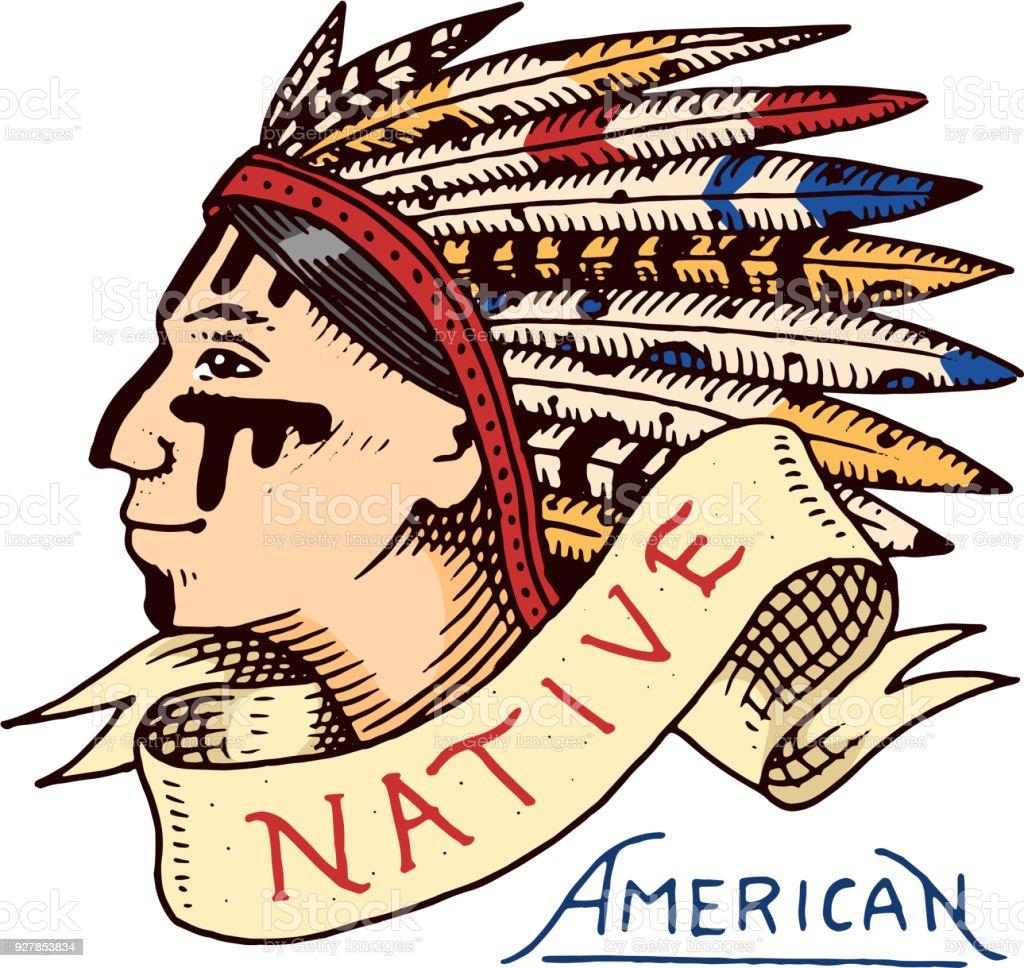 Ilustración de Nativos Americanos Viejo Indio Piel Roja Etiqueta Y ...