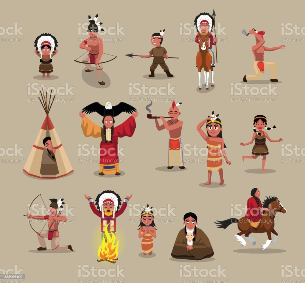 Native American People Poses Cartoon Vector Illustration vector art illustration