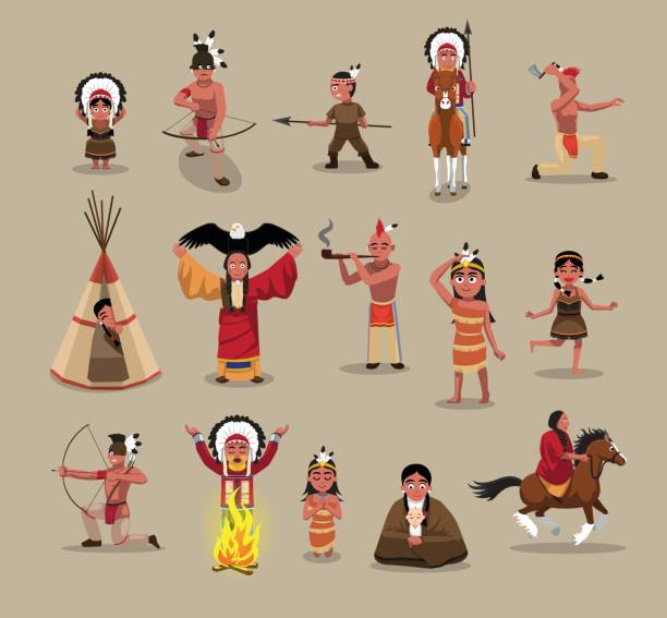 Native American People Poses Cartoon Vector Illustration Cartoon Characters EPS10 File Format indigenous peoples of the americas stock illustrations