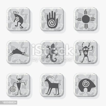 Native American petroglyph icons on a textured stone tile. Petroglyphs and tiles are each grouped on separate layers for easy editing. (colors may be easily changed with vector software.) Hi Res JPEG and CS3 files are included.