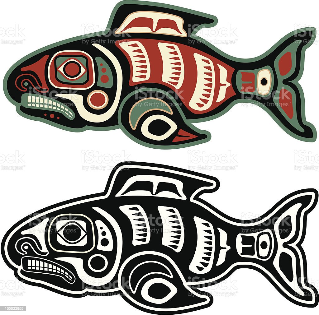 Native American Salmon vector art illustration