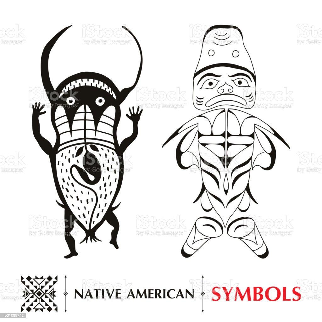 Native American Schematische Menschliche Figuren Isoliert Auf Weißem ...