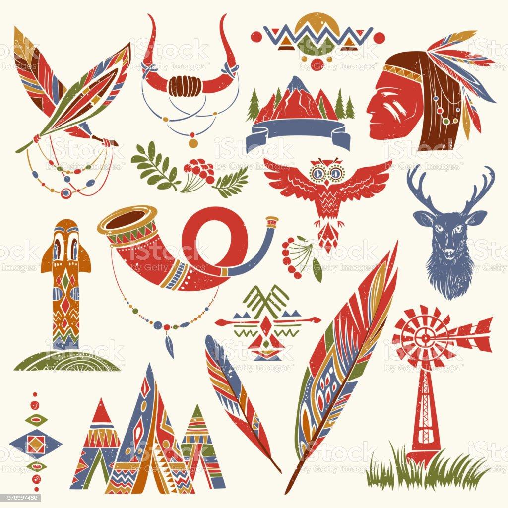 Native American Symbols Drawings Stock Illustration