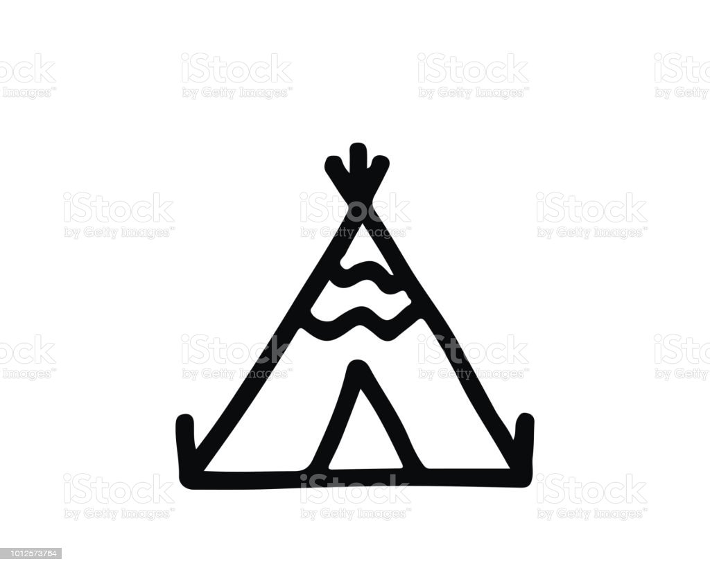 Native American Tent Hand Drawn Icon Stock Vector Art More Images
