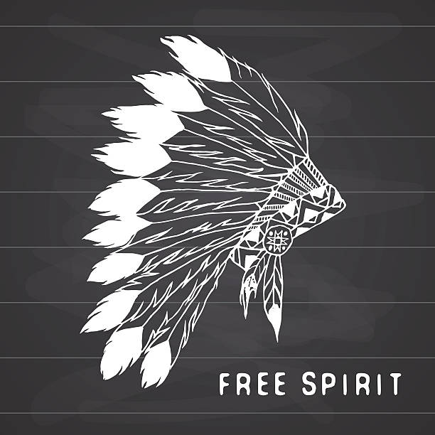 native american traditional headdress. tribal legend in indian style, vector - kopfschmuck stock-grafiken, -clipart, -cartoons und -symbole