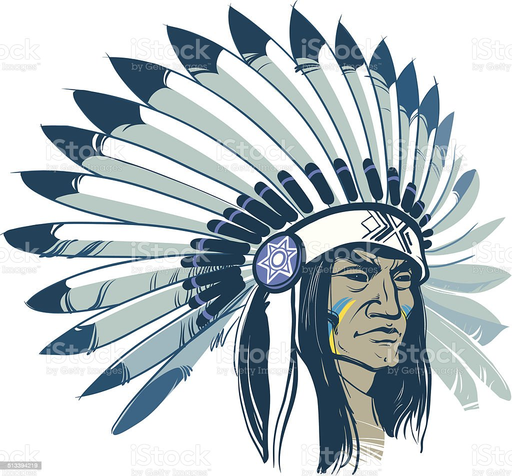 Native American vector art illustration