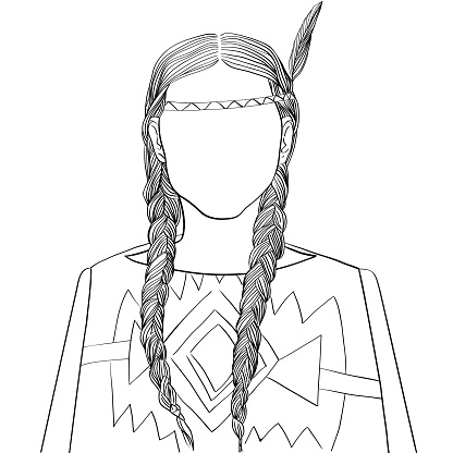 Native american young woman with braids doodle avatar