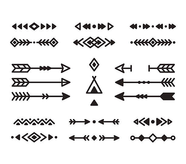 Native design elements Native American Indian design elements set. Borders, arrows, ornaments and other symbols. Tribal vector elements in modern geometric style. teepee stock illustrations