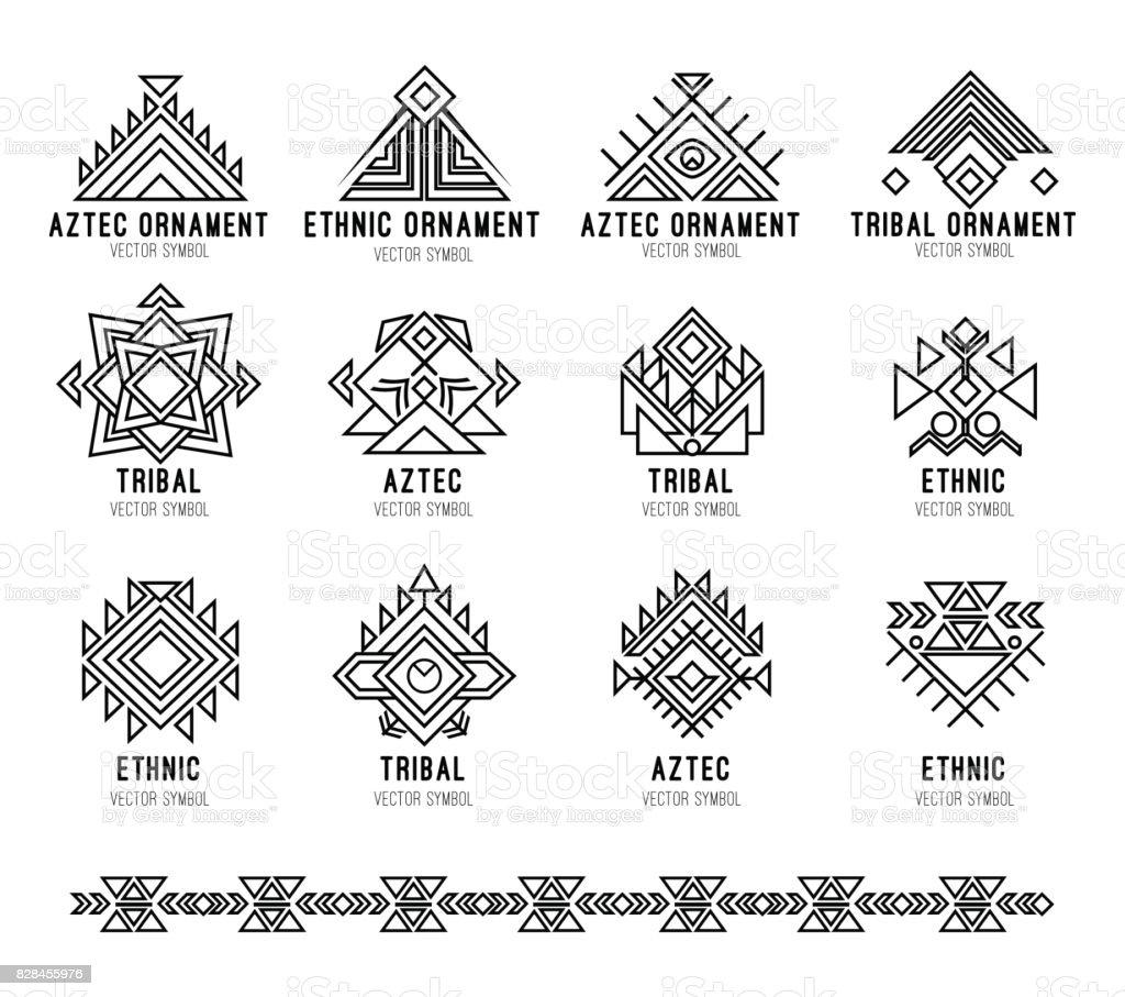 Conjunto de iconos de tribus nativas - ilustración de arte vectorial