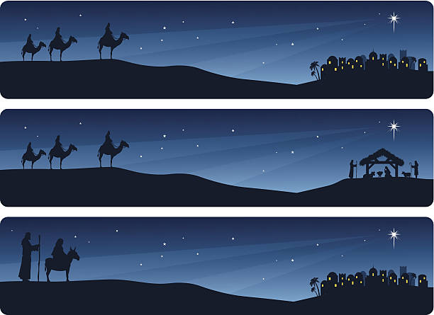 Nativity Banners Wise men and Mary and Joseph journeying to Bethlehem. nativity silhouette stock illustrations