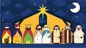 Nativity Barn Scene with Characters Icons