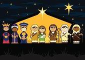 Nativity Characters in Barn