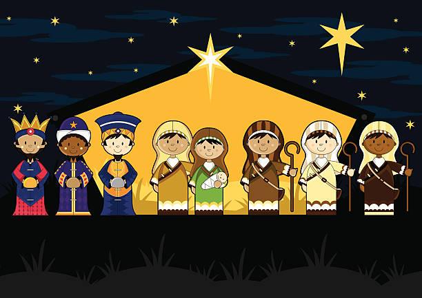 Christmas Clip Art North Star.Nativity Scene North Star Christmas Stable Illustrations