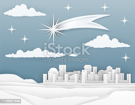 A nativity Christmas scene in a cut paper style. City of Bethlehem in background with guiding star above announcing the birth of baby Jesus. Christian religious illustration.
