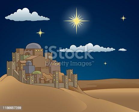 istock Nativity Christmas Bethlehem Star Cartoon Scene 1156657259