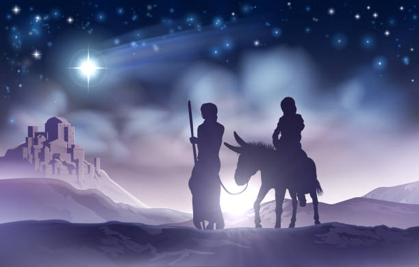 Nativity Christmas Illustration Mary and Joseph A nativity Christmas scene illustration of the Mary and Joseph a donkey on their journey, the star of Bethlehem and the city in the background nativity silhouette stock illustrations
