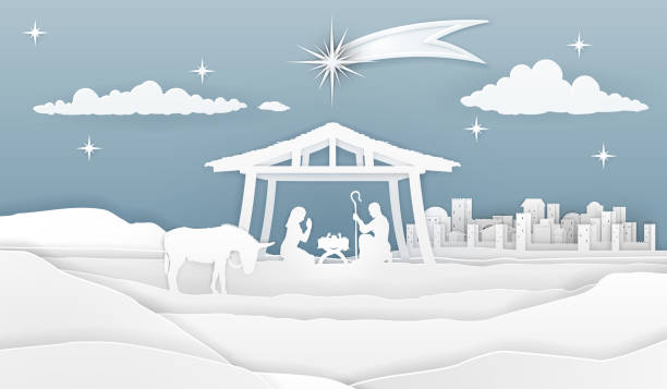 Nativity Christmas Paper Scene A nativity Christmas scene in a silhouette cut paper style. Baby Jesus in manger. City of Bethlehem in the background. The star above stable. Christian religious illustration. nativity silhouette stock illustrations