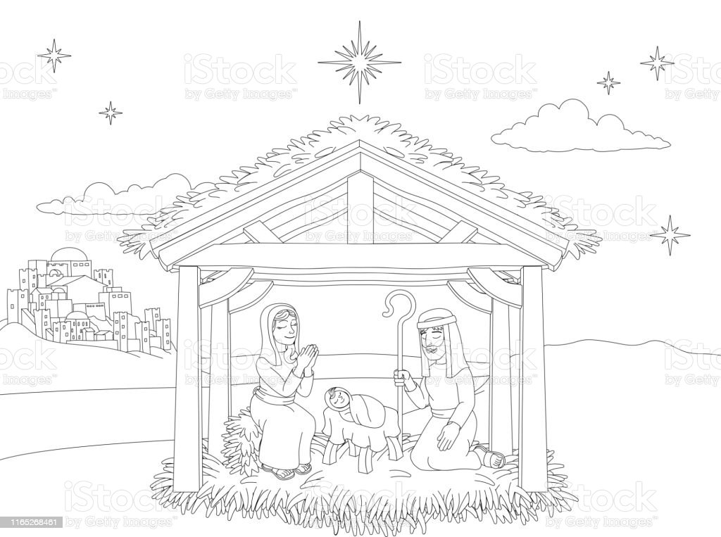 Nativity Christmas Scene Coloring Cartoon Stock ...