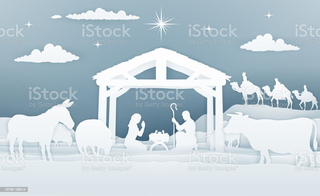 Krippe Weihnachten Szene Papier Kunststil Stock Vektor Art und mehr ...