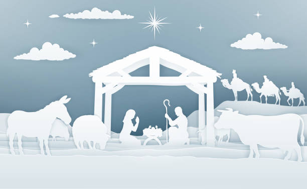 Nativity Christmas Scene Paper Art Style Christmas Christian Nativity Scene of baby Jesus in the manger with Mary and Joseph in silhouette. Surrounded by animals and the three wise men magi. In a vintage paper art style. nativity silhouette stock illustrations