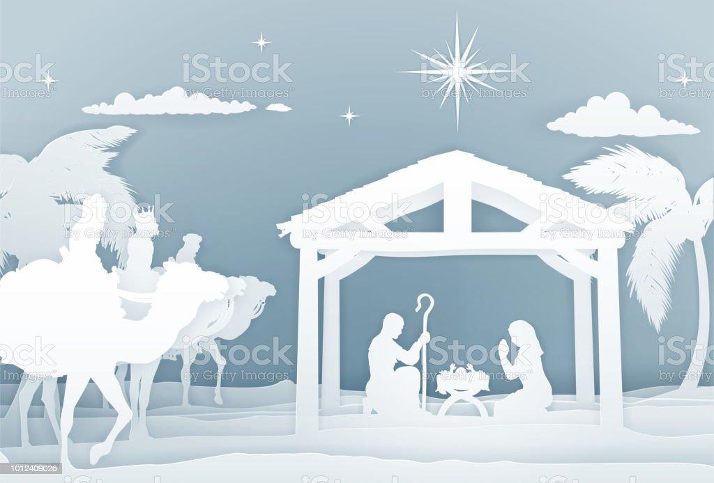 Krippe Weihnachten Szene Papercraft Stil Stock Vektor Art und mehr ...