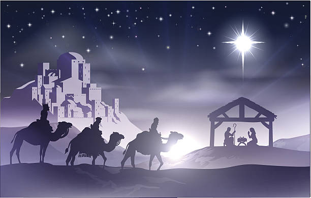 Nativity Christmas Scene Christmas Christian nativity scene with baby Jesus in the manger in silhouette, three wise men or kings and star of Bethlehem with the city of Bethlehem in the distance nativity silhouette stock illustrations