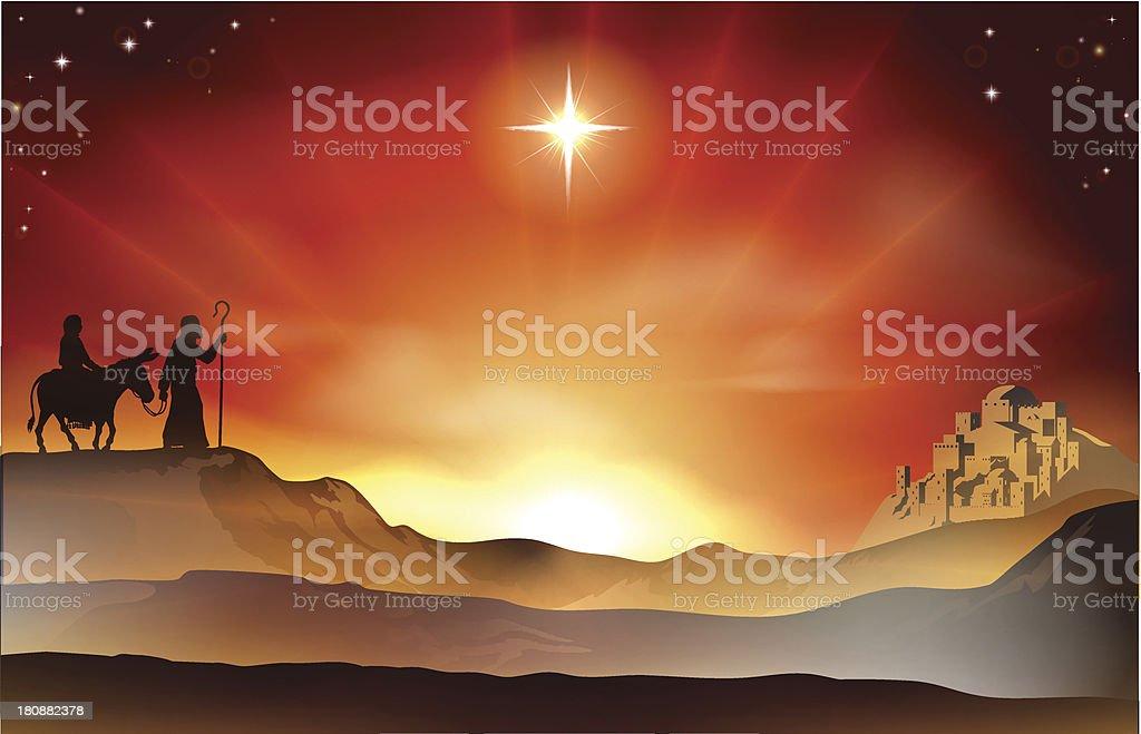 Nativity Christmas story illustration vector art illustration