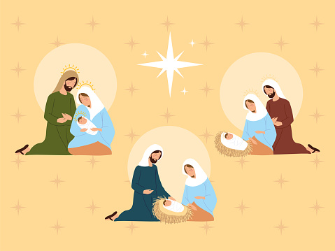nativity, different holy family together manger scene