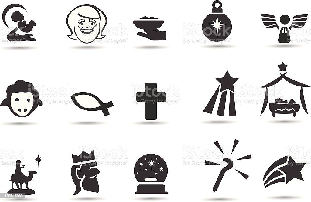 Nativity Icons vector art illustration