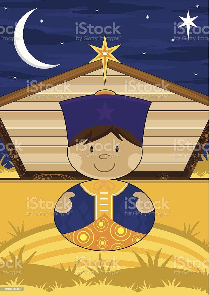 Natividade cama King-size com celeiro ilustração de natividade cama kingsize com celeiro e mais banco de imagens de adulto royalty-free