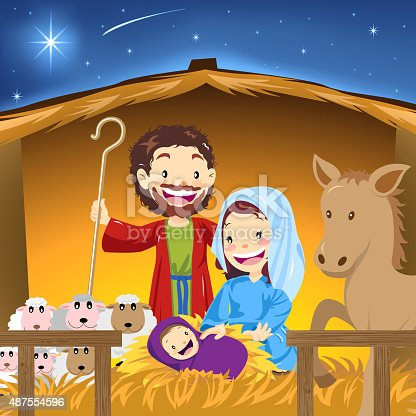 Christmas nativity scene, Jesus born in a manger,