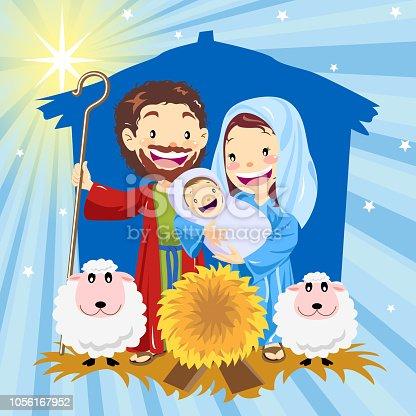 Holy family in manger.