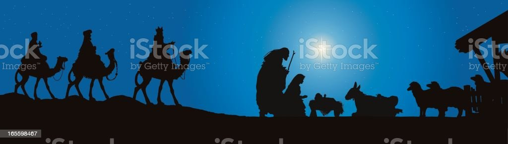 Nativity Scene and The Three Kings on Camels (Vector) royalty-free stock vector art