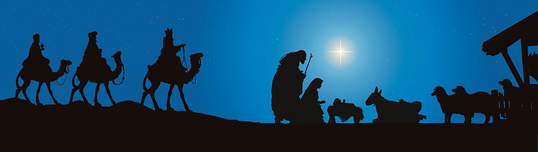 Nativity Scene and The Three Kings on Camels (Vector)
