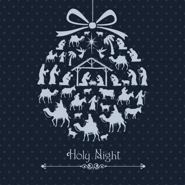 ilustrações de stock, clip art, desenhos animados e ícones de nativity scene. christmas bauble - reis magos