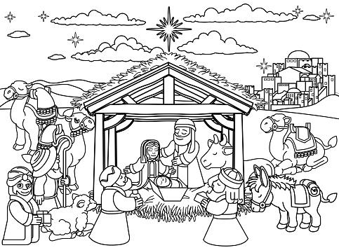 Nativity Scene Christmas Cartoon